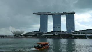 Dark clouds above Marina Bay Sands in Singapore