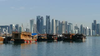 Dhow Harbour and Doha skyline in the morning