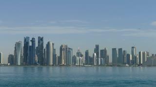 Doha Qatar skyline in the morning