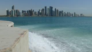 Doha Qatar skyline with water stream