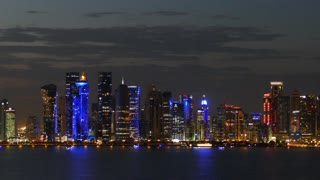 Doha skyline at night in Qatar