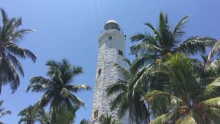 Dondra Head Lighthouse in between the palmtrees at the most Southern point in Sri Lanka
