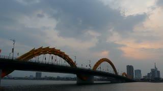 Dragon bridge during sunset at the River Hàn in Da Nang, Vietnam