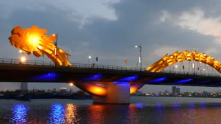 Dragon bridge in the evening at the River Hàn in Da Nang, Vietnam