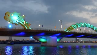 Dragon bridge in the evening changing color in Da Nang, Vietnam