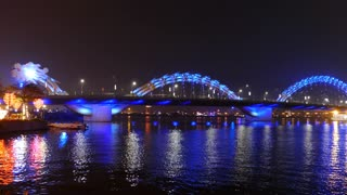 Dragon bridge in the evening with a blue color in Da Nang, Vietnam