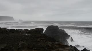 Dyrholaey on a stormy day on the south coast of Iceland