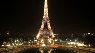 Eiffel tower at night light show timelapse, Paris, France