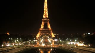 Eiffel tower at night timelapse, Paris, France