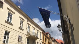 European and Greek flag in the old town of Zagreb Croatia