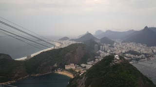 Fast pan from peak of the Sugarloaf Mountain in Rio de janeiro Brazil