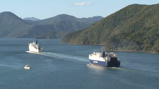 Ferries leaving harbor picton, New Zealand