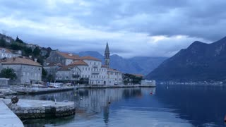 Ferry arriving from the two islands off Perast Montenegro