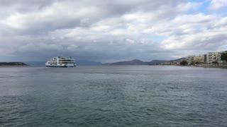 Ferry leaving Nea Stira Greece