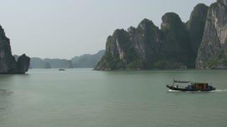 Fishing boat in Ha Long Bay