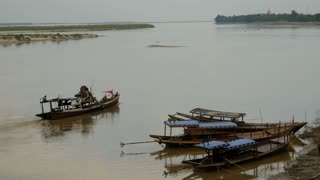 Fishing boats at the Irrawaddy river in Bagan, Myanmar, Burma