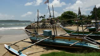 Fishing boats on the beach in Galle, Sri Lanka