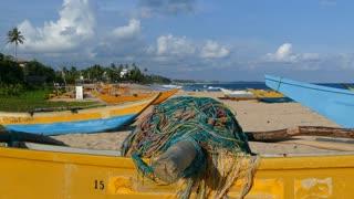 Fishing net at a traditional catamaran fishing boat at Tangalle beach in Sri Lanka