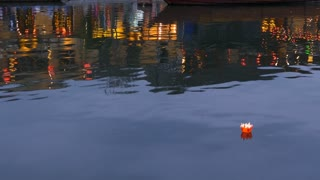 Floating lantern at the thu bon river in the Old town of Hoi An Vietnam