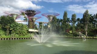 Fountain at Supertree Grove at Gardens by the Bay in Singapore