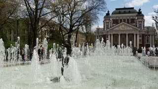 Fountain in front of the Ivan Vazov National Theatre in Sofia Bulgaria