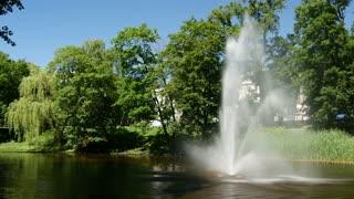 Fountain in pilsetas kanals in the Bastion Hill Park Riga Latvia