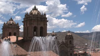 Fountain on roof top close to the Plaza de Armas in Cusco