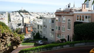 Gocar driving the famously Lombard Crooked Street in San Francisco