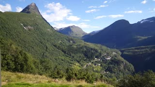 Green mountain landscape in Geiranger national park Norway
