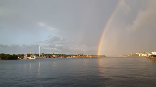 Gröna Lund amusement park with rainbow