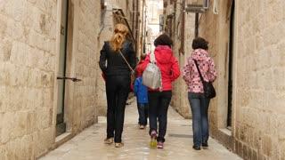 Group friends walking in the streets of Dubrovnik Croatia