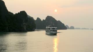 Ha long Bay morning sun with cruise ship
