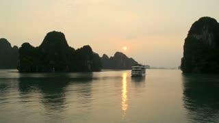 Ha long Bay morning sunrise with cruise ship