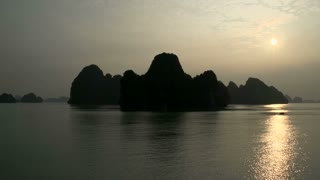 Ha Long Bay mountains in the morning sunrise