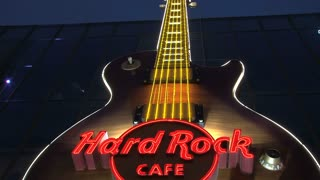Hard rock cafe sign Las Vegas at night