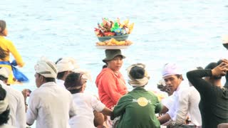 Hindu ceremony at the beach Bali indonesia