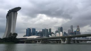 Hotel and casino Marina Bay Sands and skyline at a cloudy day in Singapore