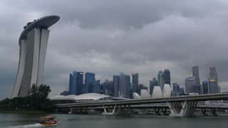 Hotel and casino, Marina Bay Sands and skyline at a cloudy day in Singapore