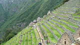 Houses and terraces at the Machu Picchu in Peru