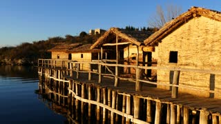 Houses at Lake Ohrid and the Bay of Bones Museum in Macedonia