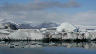 Ice drives by at the Jökulsárlón Glacier lagoon in southeast Iceland