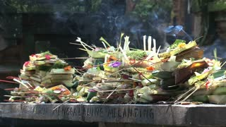Incense at a temple in Ubud Bali indonesia