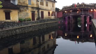 Japanese Covered Bridge with lights in Hoi an Vietnam