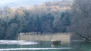 Lake with a boat in Saint Naum in Macedonia