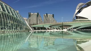 L'Hemisferic building and the Berklee College of Music at the City of Arts and Sciences in Valencia Spain