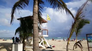 Lifeguard house at the beach of Playa del Carmen Yucatan, Mexico
