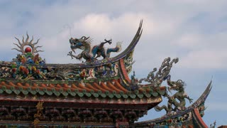 Longshan Temple roof clouds timelapse