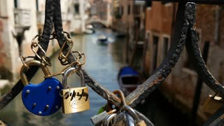 Love locks at the bridge at Campiello Drio La Pieta in Venice Italy