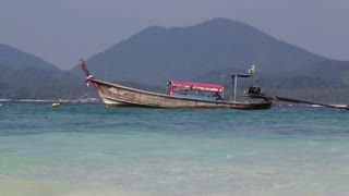 Low angle from tourism boat close to the beach