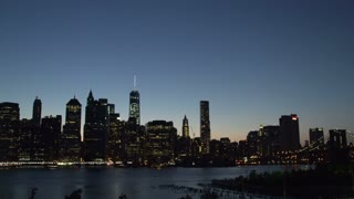 Manhattan New York City skyline at night from Brooklyn heights time lapse